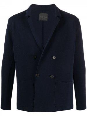 Двубортный пиджак прямого кроя Roberto Collina. Цвет: синий
