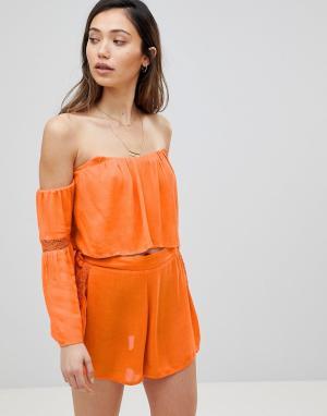 Пляжный топ с открытыми плечами -Оранжевый Influence