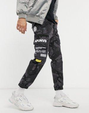Черные брюки-карго с камуфляжным принтом AAPE By A Bathing Ape-Черный цвет APE®