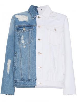 Состаренная джинсовая куртка SJYP. Цвет: синий