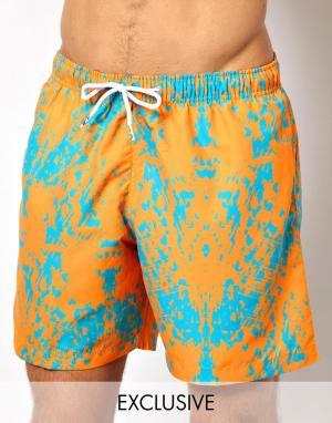 Персиковые шорты для плавания с узором Franks эксклюзивно ASOS swimwear. Цвет: peach