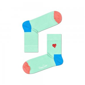 Embroidery Heart Half Crew Sock Happy Socks. Цвет: бирюзовый