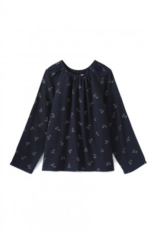 Темно-синяя блузка с принтом Paige Bonpoint. Цвет: синий