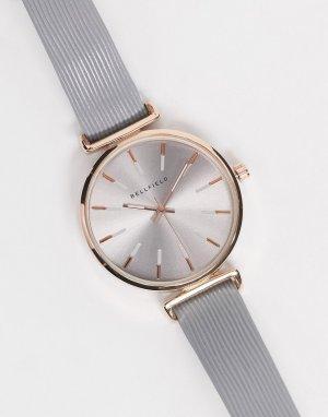 Часы синего оттенка с розово-золотистой отделкой -Серый Bellfield