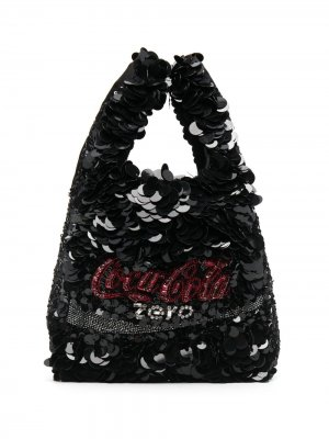 Сумка-тоут Coke Zero Anya Hindmarch. Цвет: черный