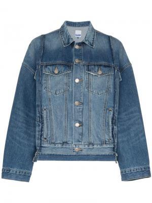 Джинсовая куртка в стиле оверсайз со вставками SJYP. Цвет: синий