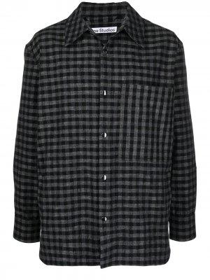 Клетчатая рубашка на кнопках Acne Studios. Цвет: черный