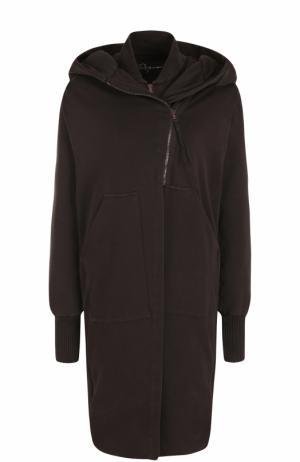 Хлопковое пальто на молнии с капюшоном Roque. Цвет: темно-коричневый