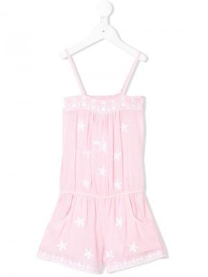 Комбинезон с вышивкой со звездами Elizabeth Hurley Beach Kids. Цвет: розовый