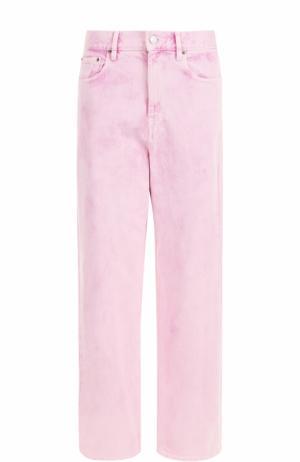 Широкие джинсы с завышенной талией и потертостями Isabel Marant Etoile. Цвет: розовый