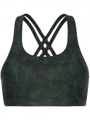 Спортивный бюстгальтер Double Tempo с принтом Nimble Activewear. Цвет: зеленый