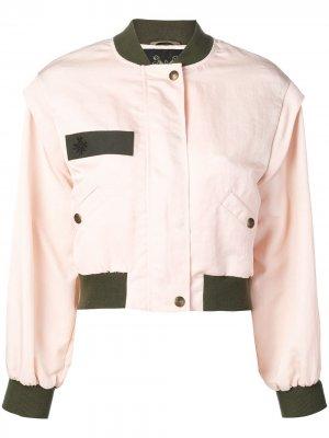 Куртка-бомбер с контрастной отделкой Mr & Mrs Italy. Цвет: розовый
