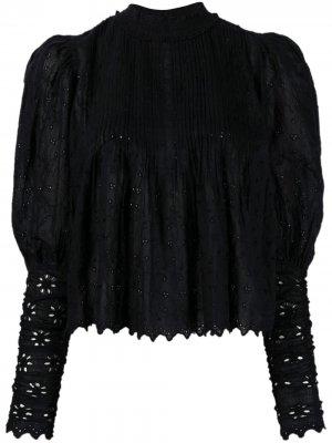 Блузка с вышивкой и плиссировкой byTiMo. Цвет: черный