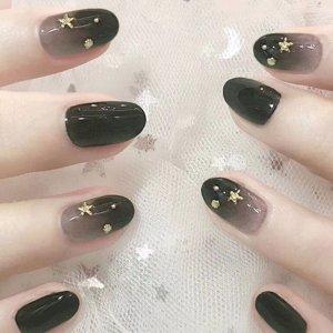 24шт накладные ногти звезды и двухсторонняя лента SHEIN. Цвет: чёрный