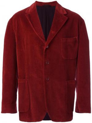 Бархатный пиджак с застежкой на пуговицы Romeo Gigli Vintage. Цвет: красный