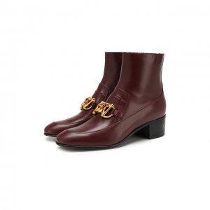 Кожаные ботинки Horsebit Gucci. Цвет: красный