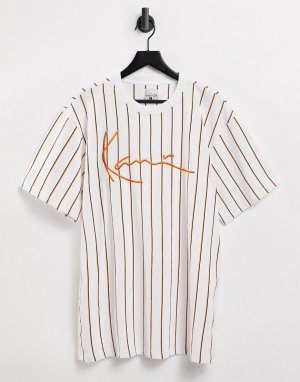 Белая футболка в тонкую полоску -Белый Karl Kani