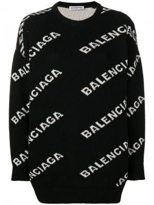 Джемпер вязки интарсия с логотипом Balenciaga. Цвет: черный