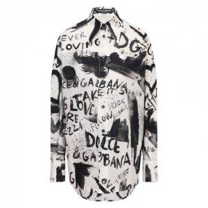 Хлопковая рубашка Dolce & Gabbana. Цвет: чёрно-белый