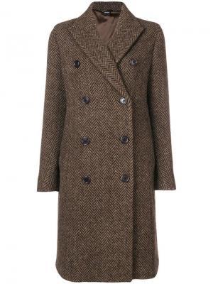 Двубортное пальто в елочку Aspesi. Цвет: коричневый