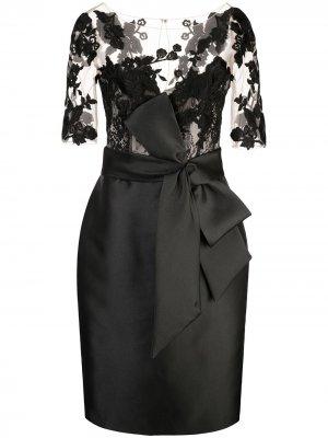 Приталенное платье со вставками Badgley Mischka. Цвет: черный