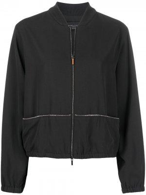 Куртка-бомбер с вышивкой бисером Fabiana Filippi. Цвет: черный
