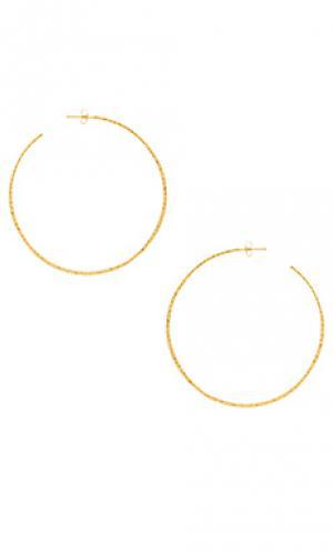 Серьги-кольца xl taner gorjana. Цвет: металлический золотой