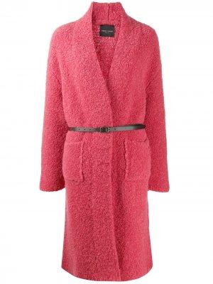 Фактурное пальто с поясом Roberto Collina. Цвет: розовый