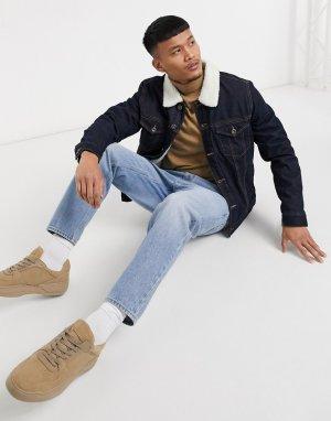 Темно-синяя утепленная джинсовая куртка с воротником из искусственного меха -Темно-синий Celio