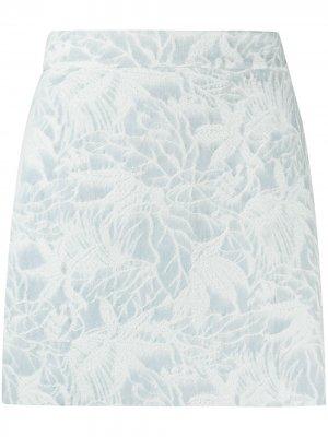 Жаккардовая юбка мини с цветочным принтом MSGM. Цвет: синий