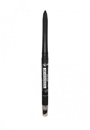 Карандаш для глаз Seventeen автомат с точилкой+спонж т.02  TWIST LINER Черный. Цвет: черный