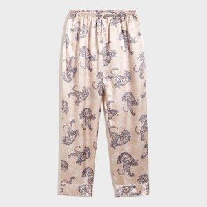 Мужские атласные пижамные брюки с принтом тигры SHEIN. Цвет: многоцветный