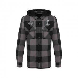 Хлопковая куртка-рубашка Garage Harley-Davidson. Цвет: серый