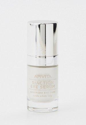 Сыворотка для кожи вокруг глаз Apivita Интенсивная, 5 в 1, с Белой Лилией, 15 мл. Цвет: прозрачный