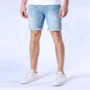 Мужские джинсовые шорты-бермуды SHEIN. Цвет: легко-синий