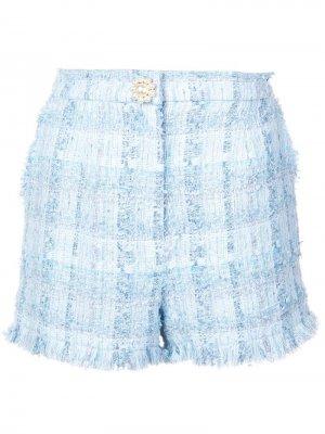 Облегающие твидовые шорты Edward Achour Paris. Цвет: синий
