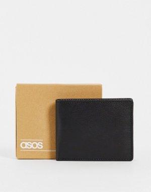 Черный кожаный бумажник с отделением для монет -Черный цвет ASOS DESIGN