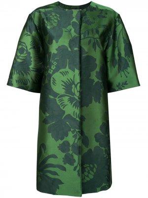 Жаккардовое пальто с цветочным узором Carolina Herrera. Цвет: зеленый