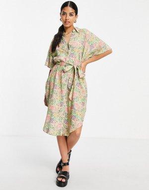 Платье-рубашка миди с цветочным принтом Mimmi-Multi Monki