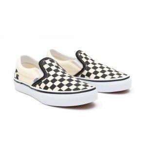 Детские кеды Checkerboard Classic Slip-On VANS. Цвет: черный_белый