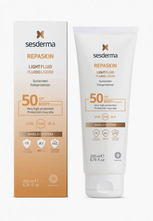 Крем солнцезащитный Sesderma нежный SPF50 REPASKIN LIGHT FLUID, 200 мл. Цвет: белый