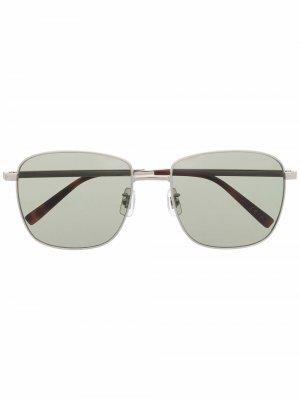 Солнцезащитные очки в квадратной оправе Dunhill. Цвет: серебристый