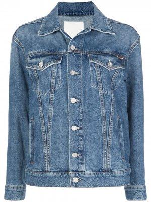 Джинсовая куртка с пуговицами на рукавах MOTHER. Цвет: синий