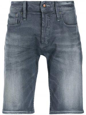 Джинсовые шорты с подворотами Denham. Цвет: синий