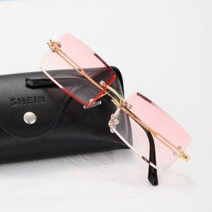 Мужские солнцезащитные очки без оправы SHEIN. Цвет: розовые