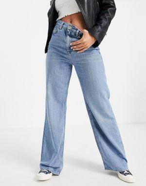 Голубые джинсы с широкими штанинами -Голубой Topshop