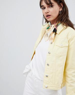 Рваная джинсовая куртка Urban Bliss. Цвет: желтый