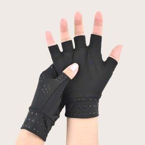 Спортивные защитные перчатки без пальцев 1 пара SHEIN. Цвет: чёрный
