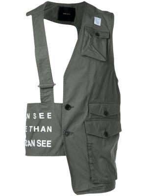 Асимметричный топ с накладными карманами Undercover. Цвет: зелёный