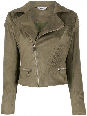 Байкерская куртка со сборками LIU JO. Цвет: зеленый